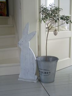 Use galvanized pail for Easter tree, using birch branches and foam. Also luv bunny! Make wood cut out & white wash or paint white & antique. Hoppy Easter, Easter Bunny, Easter Eggs, Spring Crafts, Holiday Crafts, Holiday Fun, Easter Projects, Easter Crafts, Easter Decor