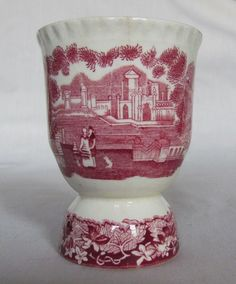 LOVELY ANTIQUE MASONS MASON'S VISTA PINK RED VISTA DOUBLE EGG CUP PRETTY SCENES