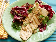 Grilled Trout Almondine with Radicchio and Orange-Almond Vinaigrette recipe from Bobby Flay via Food Network