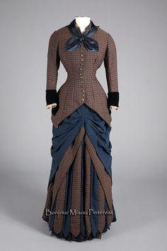 Day dress, Augustine Martin, France, ca. 1880. Wool, silk, metal.