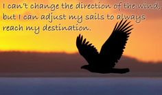 I can't change the direction of the wind but I can adjust my sails to always reach my destination.