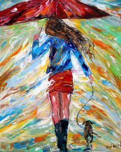 Original oil painting Rain Dance and Dog palette by Karensfineart