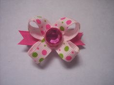 The Original SnapIn Dog Hair Bow Pink and Green Dots by snapinbows, $3.99