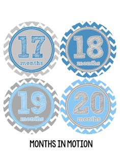 Baby Boy Monthly Milestone Stickers Style #222