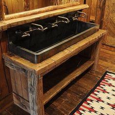 "custom bronze ""trough"" sink for the bunk room bathroom in this vacation Montana home Kids bathroom Cabin Bathrooms, Primitive Bathrooms, Rustic Bathrooms, Basement Bathroom, Lodge Bathroom, Small Bathrooms, Bathroom Remodeling, Trough Sink, Water Trough"