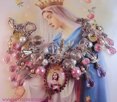 """Queen of Angels"" Catholic Virgin Mary, Saints Catholic Medals Bracelet www.letyscreations.com"