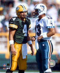 """NFL Football - """"So wait, you sent a picture of what???"""" Brett Favre and Dan Marino"""
