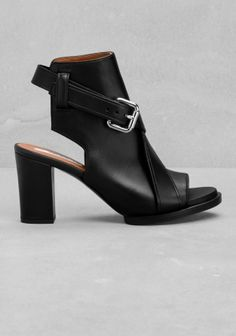 & OTHER STORIES Crafted from smooth, soft leather this chunky-heeled sandal has both an open toe and exposed heel.