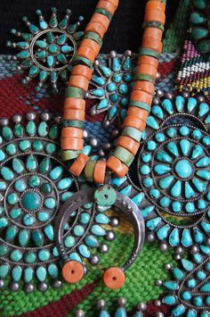Navajo/Pueblo Trade Coral And Turquoise Necklace With Naja from Uchizono Gallery.