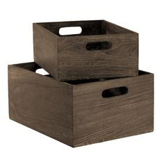 Really like these, could act as stands and containers for storage when setting up and taking down. (The Container Store  Feathergrain Wood Bins)
