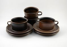Four Arabia Ruska Cups and Saucers Designed by Ulla by bitofbutter, $50.00