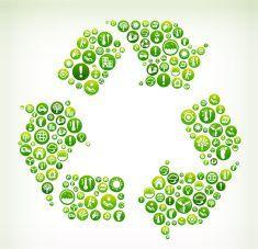 Recycling Environmental Conservation Green Vector Button Pattern. vector art illustration
