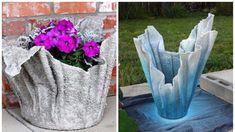 Na betonový květináč potřebujete jen starý ručník a hobby beton. Tohle tvoření je jednoduché Cement Planters, Concrete Pots, Concrete Garden, Concrete Crafts, Halloween Diy, Garden Sculpture, Garden Design, Diy And Crafts, Exotic