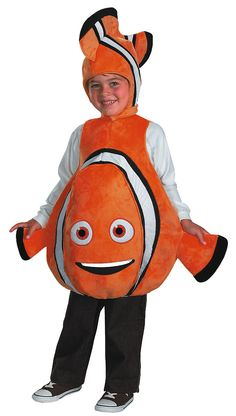 Finding Nemo Deluxe Child Costume - This is a big, comfy Finding Nemo costume of Nemo himself. One of the most memorable of Disney-Pixar's movies. This is a two-piece costume with a body piece and head piece. The body is of Nemo with fins and a detachable tail. Nemo's cartoon eyes and mouth are sewn on the front. The suit and head piece have foam lining to give the costume a fuller shape. #disney #pixar #findingnemo #nemo #calgary #yyc #kids #chidlren #movie Dress Up Costumes, Boy Costumes, Disney Costumes, Halloween Costumes For Kids, Costume Ideas, Diy Fish Costume, Pixar Costume, Cartoon Costumes, Party Costumes