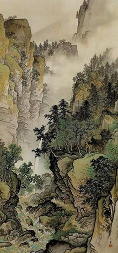 Gyokudo Japan 川合玉堂 (I used to draw comics like this when I was a teenager.)KAWAI Gyokudo Japan 川合玉堂 (I used to draw comics like this when I was a teenager. Landscape Art, Landscape Paintings, Landscapes, Japanese Landscape, Japon Illustration, Botanical Illustration, Art Chinois, Art Asiatique, Art Japonais
