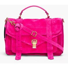 PROENZA SCHOULER Ps1 Medium Hot Pink Suede Satchel ($1,695) ❤ liked on Polyvore