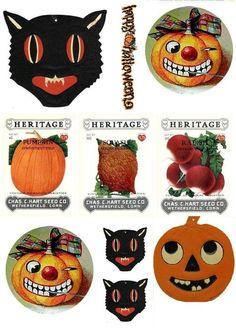 Vintage Halloween printables Theme Halloween, Halloween Images, Halloween Projects, Halloween Cards, Holidays Halloween, Happy Halloween, Halloween Decorations, Halloween Clothes, Halloween Labels