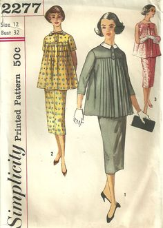 Simplicity 2277 Vintage 50s sewing Pattern Maternity Skirt And Blouse Size 12