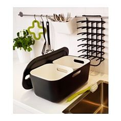IKEA Boholmen dish tub, with colander and mini tub inside. Teeny drainer and cutlery caddy on rack