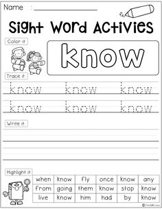 There are 41 pages of sight word first-grade in this packet. Students use a variety of skills with each practice page. They will learn to identify, read and write. This packet is perfect for kindergarten students who are learning the sight words. First Grade Freebies, Kindergarten Freebies, Teaching Kindergarten, Teaching Resources, Kindergarten Centers, Literacy Centers, Classroom Resources, Teaching Reading, Classroom Ideas