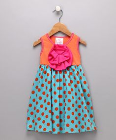 Orange and Aqua Peony Dress from Freckles & Kitty