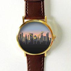 Cityscape on Dusk Watch,Vintage Style Leather Watch, Women Watches,Unisex Watch,Boyfriend Watch,Men's Watch,