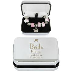 Personalised Decorative Wedding Bride Silver Box and Pink Charm Bracelet  from www.personalisedweddinggifts.co.uk :: ONLY £24.99
