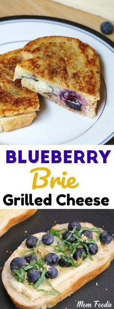 Blueberry Brie Grilled Cheese with basil and brown…