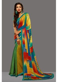Ethnic Wear Multi-Colour Crepe Jacquard Saree  - 80460