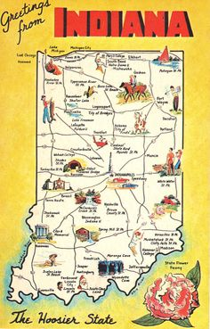 Greetings From Indiana  State Map Vintage Postcards by heritagepostcards, $2.00