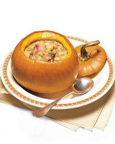White Bean and Sausage Stew in Pumpkin Bowls Recipe | Martha Stewart