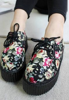 lace up grunge punk rock flora print platform shoes from mancphoebe Dr Shoes, Sock Shoes, Cute Shoes, Me Too Shoes, Shoes Sneakers, Yeezy Shoes, Pretty Shoes, Converse Shoes, Adidas Shoes