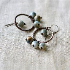 Copper chandelier earrings teal and brown earrings boho by alery