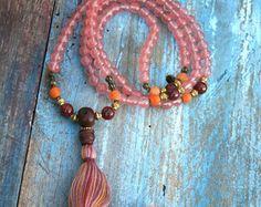 Beautiful faceted cherry quartz gemstone mala por look4treasures