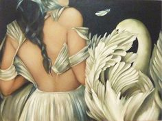 """""""Leda and the Swan (1)"""" by Amy Judd    """"Leda and the Swan"""" is one of Yeats"""" """"Annunciation"""" poems. Also it's about the duality of human nature.  At once graceful and sinister, placid and nasty, chaste and sexual, poetic and prosaic."""