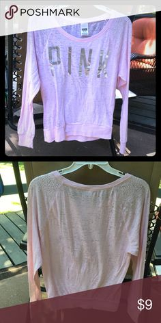 Pink long sleeve shirt This beautiful shirt is in great shape and has only been worn once. Goes great with leggings or jeans. PINK Victoria's Secret Tops Tees - Long Sleeve