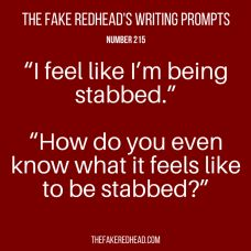 Sign Up For The Newsletter Prompt Library 1-100, 101-200 The complete library of the original writing prompts written by The Fake Redhead Click To Claim Your 10 FREE Writing Prompts Prompt Library…