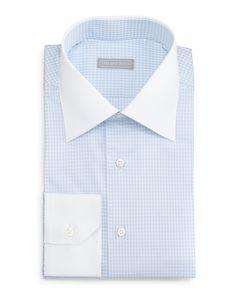 Contrast-Collar Check Dress Shirt, Light Blue, Women's, Size: 17 1/2, Ltblu - Stefano Ricci