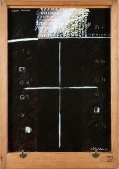 Ralph Hotere . Black Window-Alumin Politik Acrylic on hardboard in villa sash window frame, 122 x 86 cm .