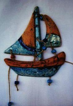 Seramik Yelkenli -- Sailboat Wall Sculpture