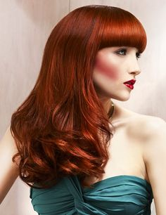 beautiful shade of red... Bettie Page Bangs