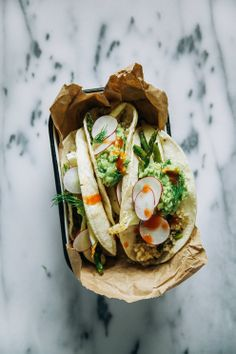 Roasted spring veg + quinoa tacos with dill-y guacamole