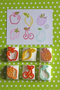 Hand Carved Fruits Stamps Apple Lemon Raspberry