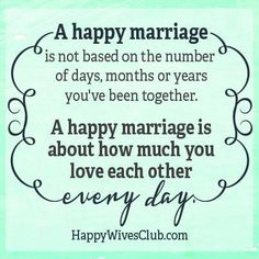 A happy marriage is not based on the number of days, months or years you've been together. A happy marriage is about how much you love each other everyday. -Unknown