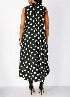 Polka Dot Casual Sleeveless O-Neck Black Chiffon Blouse Casual Sleeveless Polka Dot High Low Chiffon Blouse. Polka Dot Casual Sleeveless O-Neck Black Chiffon Blouse Stylish Tops For Girls, Trendy Tops For Women, Black Chiffon Blouse, Summer Dress, Queen Fashion, Outfit Trends, Mode Hijab, African Dress, Chic Outfits