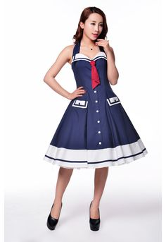 Pinup Sailor Corset Dress by Candy Culture---One time Prototype Auction ends 12/11/2014. This Dress will be custom made in winning bidder's size.