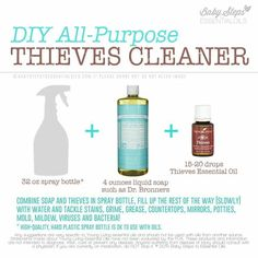 DIY Thieves All-Purpose Cleaner using Young Living essential oils. https://www.youngliving.com/en_US (Member No: 1974869) or contact me with questions: lttrice@bellsouth.net