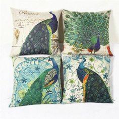 Luxbon 4er Set Pfau Peacock Leinen Kissenbezug Kissen Fall Sofa Taille Throw Cover Pillowcase Hülle Couch Stuhl Auto Haus Deko 45 x 45 cm