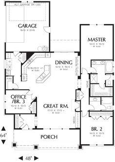 Craftsman 3 Beds 2 Baths 1891 Sq/Ft Plan #48-415 Main Floor Plan - Houseplans.com