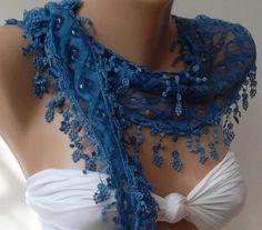 Feminine / Blue  / Elegance  Shawl / Scarf with Lacy Edge.